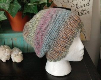 Colorful hand knit slouch hat