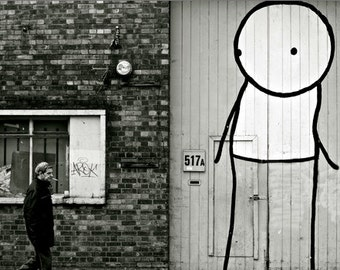 Stik Street Art - London Photography - Black and White Print