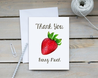 Thank You Berry Much Strawberry Greeting Card