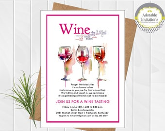 Wine Tasting Invitation   Wine Party Invitation   Wine and Cheese Party Invitation   Printable