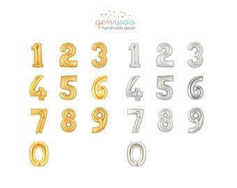 """40"""" Jumbo Number Balloon, Kids Birthday, Gold Balloon, Silver Balloon, First Birthday, Second Birthday, Third Birthday, Sweet 16 Balloon"""