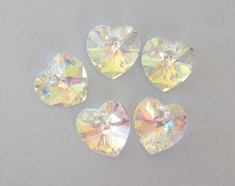 5 Swarovski crystal AB heart pendants, 10mm crystal AB hearts