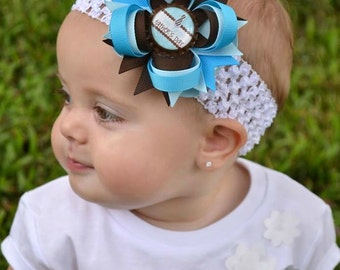 Babys First Fathers Day - My First Fathers Day Hair Bow - Blue and Brown Hair Bow - Fathers Day - Newborn Hair Bow - Infant Hair Bow - First