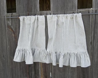 Ruffled Ticking Cafe Curtains Custom Sizes Fabrics Striped Curtains in Custom Fabrics French Country Cottage Style