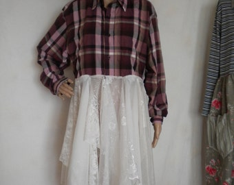 upcycled clothing tattered mori girl dress coat shabby chic duster country western romantic layering boho romantic dress coat