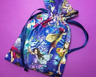 Blue and Violet Fairy Drawstring Pouch / Fairy Drawstring Bag / Handmade Fabric Pouch