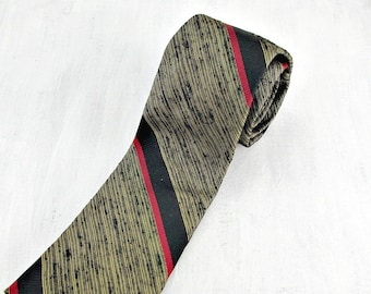 Vintage 50s 60s Skinny Tie, Designer Silk Tie, Gold Red Black Striped Tie, Mens Skinny Tie, Mid Century Modern, Gift for Dad Boyfriend