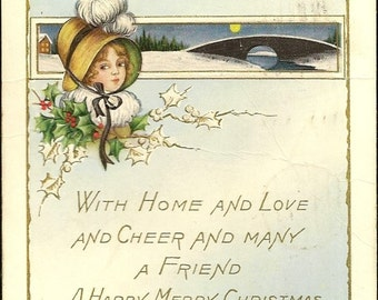 Frosty Lightly Embossed Whitney Vintage Christmas Postcard Winter Full Moon and Warm Wished 1916