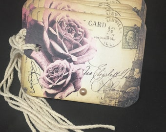 Gift Tags French Pink Roses Postcard Tags French Style Tags Wedding Tags Wedding Favors Packaging Gift Wrap Pink Organza Ribbon