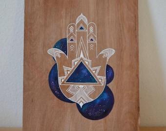 ORIGINAL- Hamsa - Henna- Mehndi Art -Home Decor - Wall Art- Mandala Art- Mandala on Wood - Fatima's hand