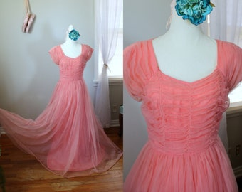 Madeline Dress // Vintage 1950's Pink Prom Dress Handmade Chiffon Formal Gown with Attached Tulle Wedding Party Princess Pinup Size Small