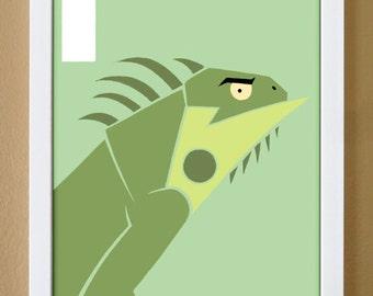 alphabet letter I, iguana, custom colors, alphabet letter print, nursery decor, lizard art, 4X6, 5X7, 8X10