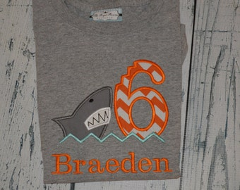 PERSONALIZED Shark Birthday Shirt  Monogrammed Your choice 1-9