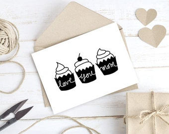 Printable Mothers Day Card From Daughter From Son, Cupcake Printable Mom Card, Printable Card, Mom Birthday Card for Mom, Instant Download