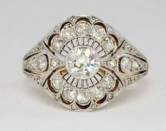 Rare Art Nouveau/Deco 1900's Russian 1.41ct. Lacey Filigree Old European Cut Diamond Ring Engagement Wedding 18k Sterling Silver