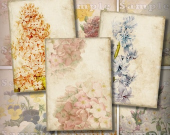 Faded Summer Garden ATC Digital Collage ACEO Backgrounds 2.5 x 3.5 Vintage Floral Roses Hydrangea Sunflower Jewelry Cards Tags Printable