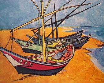 Van Gogh - Boats on the Beach -  Beautiful art print - for sailors beach lovers artists art lovers  - 16 by 20 print wall art framed