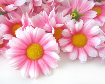 25 Pink with White Edge Gerbera Daisy Heads - Artificial Silk Flower - 1.75 inches - Wholesale Lot - for Wedding work, Make Hair clips, hats