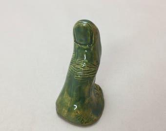 Handmade Pottery Green Thumb Ring Holder by Bart