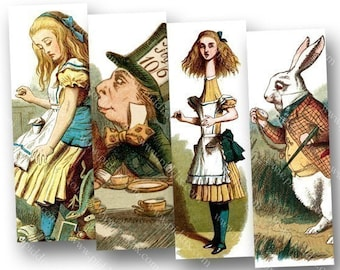 Vintage Alice in Wonderland Woodcuts Digital Collage Sheet in 1x3 Inches Victorian Tenniel for Microscope Slides & More piddix 470