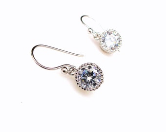 STERLING SILVER hook Bridal jewelry Simple bridal earrings wedding earrings wedding jewelry clear white round 7mm cubic zirconia drop hook