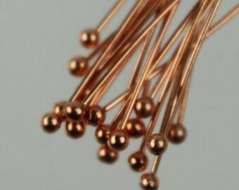 100 Copper Ball headpins Head Pins - 2 inches (50mm), 22 Gauge 22G 2.0mm Half Hard Body