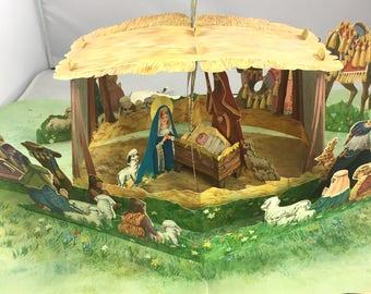 Vintage Hallmark pop up Nativity scene Table top Christmas decor Paper RARE