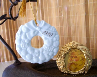 """Vintage 80's """"AVON"""" Wreath Ornament & """"MONET"""" Wreath Ornament / Picture Frame"""