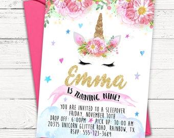 Unicorn Birthday Invitation - Magical Unicorn and Flowers - PRINTABLE or Printed Invitations