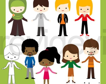 Multiculturalism teachers clipart, male female people clip art, commercial use / men women characters illustrations