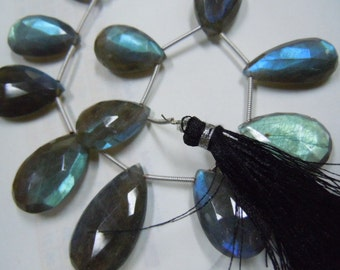 Labradorite Briolette Faceted PEar Drops AAA Quality Blue Fire 8''  size 14mm to 18mm long Wholesale Price