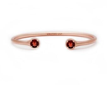 Gemstone Bangle - Rose Gold Bangle - Adjustable / Malleable Bangle Cuff Bracelet - Natural Garnet Gemstones
