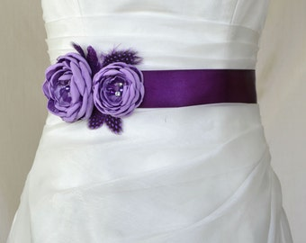 Lilac Bridal Belt, Lavender Bridal sash, Purple Floral Sash Belt, Purple Bridal Belt, Flower Wedding sash, Flower wedding dress belt