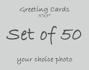 Set of 50 Valentine's Day Photo Greeting Cards, 5x7 Blank Inside, Birthday Party, Thinking of You, Congratulations, Party Invitations