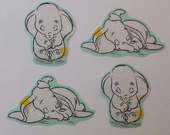 Set of 4 Iron on Dumbo motifs/embellishments/patches