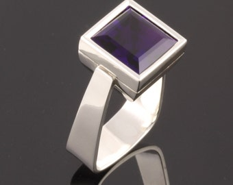 Sterling Silver Ring set with 12mm square facet cut  Amethyst