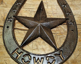 Cast Iron Antique Style HOWDY HORSESHOE Plaque Sign Rustic Ranch Wall Decor STAR