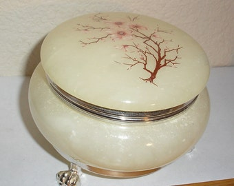 Genuine Italian Alabaster Hand Carved Floral Round Trinket Jewelry Box