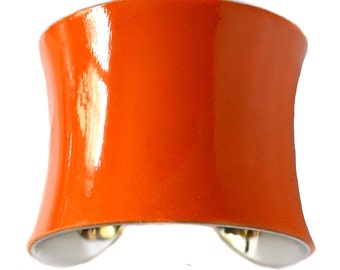 Orange Patent Lambskin Leather Cuff Bracelet - by UNEARTHED