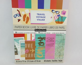 Travel 8.5x11 Scrapbook Paper Book by Recollections  48 Sheets