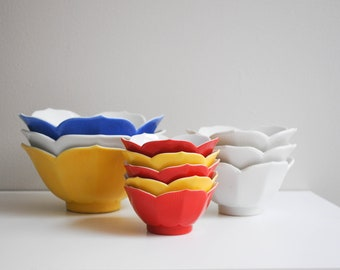 Collection of Vintage Porcelain Lotus Bowls