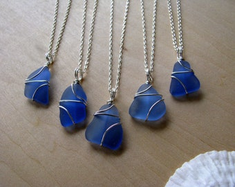 Cornflower Blue Sea Glass Necklaces Great Bridesmaid Gift for a Beach Wedding Simple Wire Wrapped Blue Beach Glass Real Seaglass Jewelry