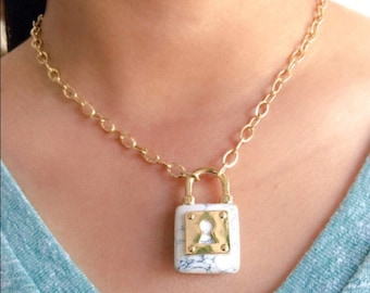 Faux White Marble Lock Necklace, Gold Necklace, Minimalist Jewelry