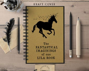 Custom Notebook, Unicorn Journal, Personalized Journal, Spiral, Personalized Gift, Personalized Gift for Her, Custom Journal