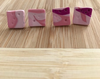 Small Square Stud 4 - Two colour way of Pink and Purple