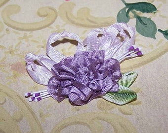 Handmade, French, Revival, Ribbonwork, Ribbon, Work, Silk, Rose, Flower, Floral, Plum, Pink, Green, Ombre, Rayon, Applique, Decoration