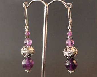 Amethyst and Sterling Silver Bali Beads Earrings