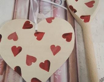 Emma Bridgewater Pink Hearts Themed Wooden Spoon & Hanging Heart Set
