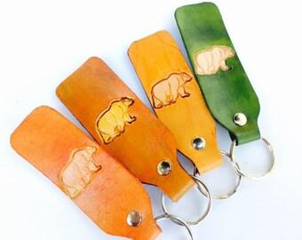 Leather Keychain   Bear