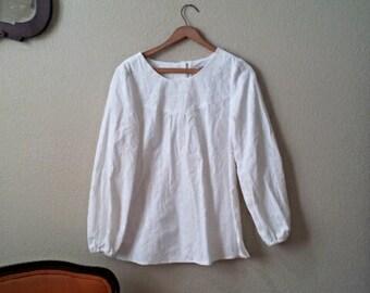 Womens Long Sleeve - White - Blouse  - Soft Corduroy - Vintage